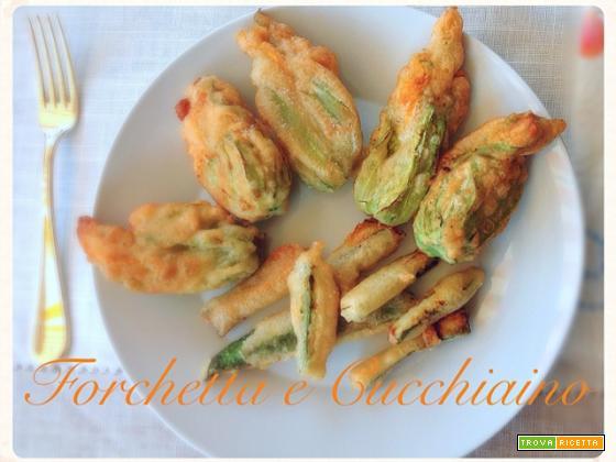 Gran fritto di fiori di zucca e zucchine in tempura alla birra