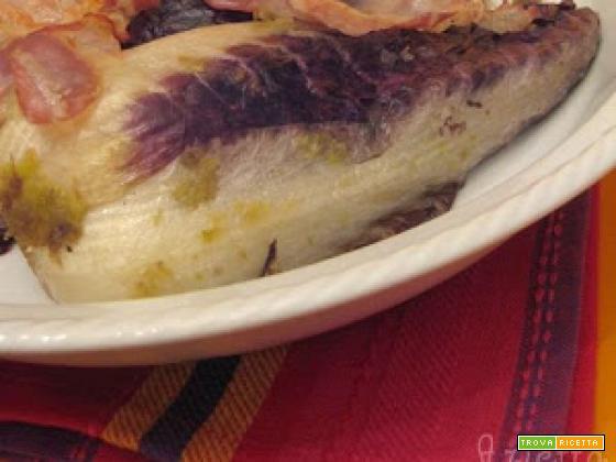 Gratin di radicchio con porri e pancetta croccante