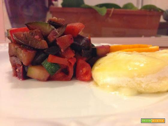 Tomino con ratatuille di verdure marinate all'arancio