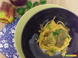 Spaghetti con crema di carciofi alla romana