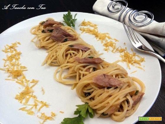 Spaghetti alla Ventresca di tonno aromatizzati alla Menta e Limone