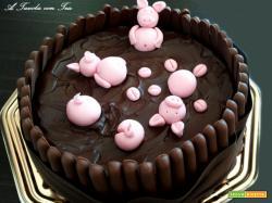 Torta maialini che affogano nel fango ... di cioccolato!