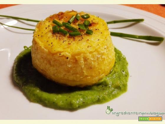 Tortini di polenta ripieni al forno su crema di broccoli e porri al curry marocchino