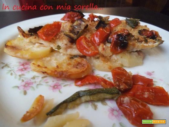 Cernia su letto di patate con pomodorini e zucchine|Ricetta Secondo Pesce