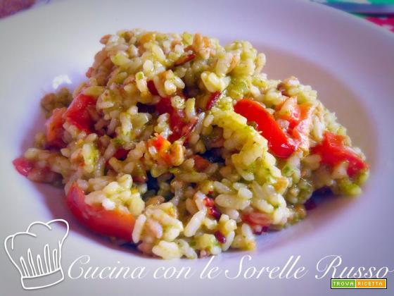 Cinque cereali con pesto al basilico e pomodorini