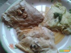 Crêpes Miste: porcini, noci, asparagi