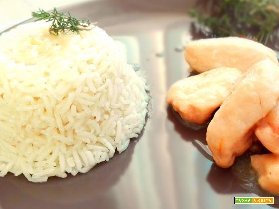 Pollo allo zenzero e birra con riso basmati