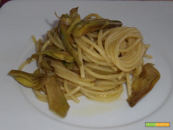 Spaghetti con carciofi e zenzero