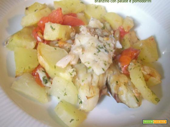 Branzino con patate e pomodorini