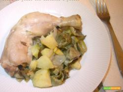 Cosce di pollo con carciofi e patate