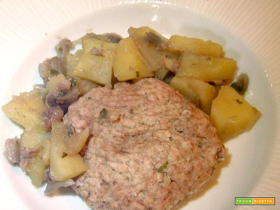 Svizzere di vitello con patate e cipolle