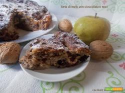 Torta di mele con cioccolato e noci