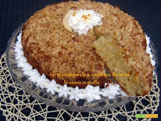 Torta crispy mele e zucchero di canna