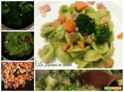 Pasta con broccoli, pancetta e carote croccanti