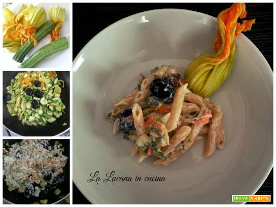 Pasta fiori di zucca, zucchine e ricotta