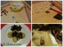 Ravioli con gorgonzola, radicchio e mandorle