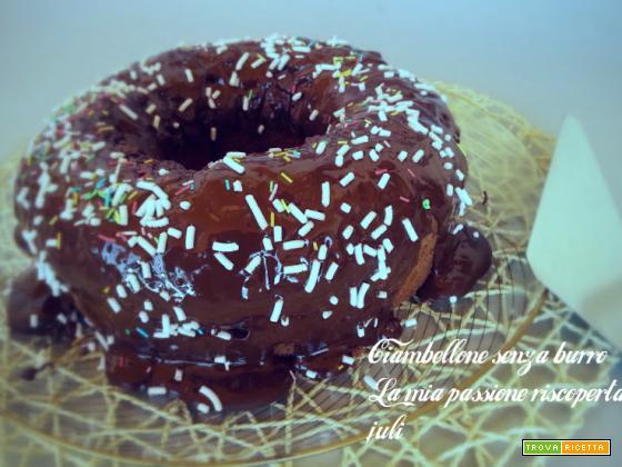 Ciambellone al cacao senza burro, cioccolato fondente,