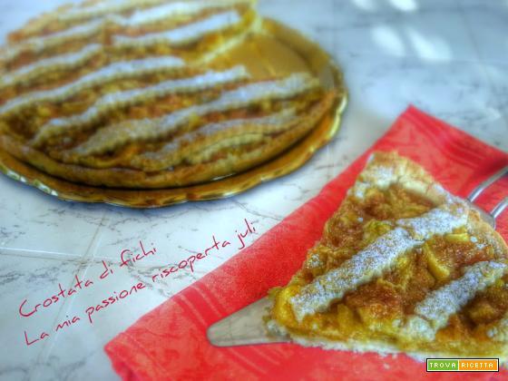 Crostata di fichi ,farina,burro, fichi freschi marmellata pasta frolla