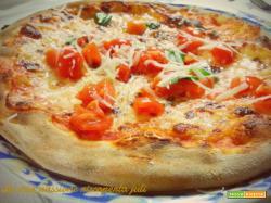 Pizza con scaglie di formaggio e pomodori, mozzarella