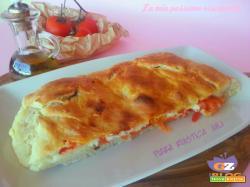 Pizza rustica, alici pomodori origano, sale olive nere, olio di oliva..