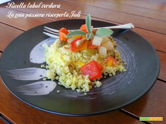 Ricetta tabulè verdura, cetriolini, peperoni rossi e gialli, menta