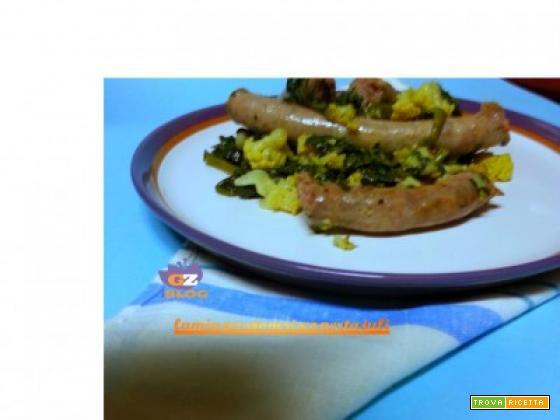 Salsiccia con spinaci e cavolfiore