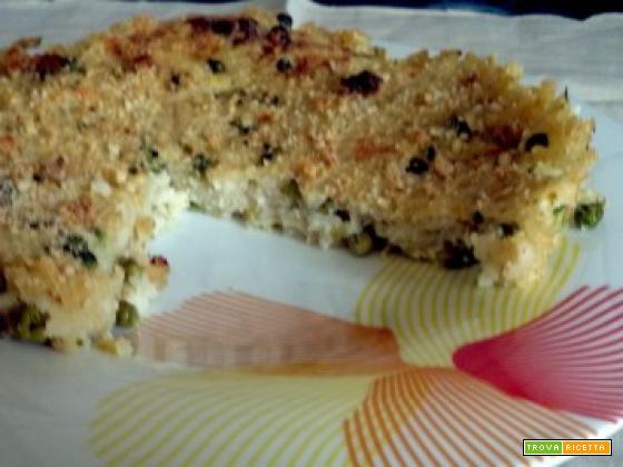 Torta di riso piselli capperi mollica brodo vegetale uova