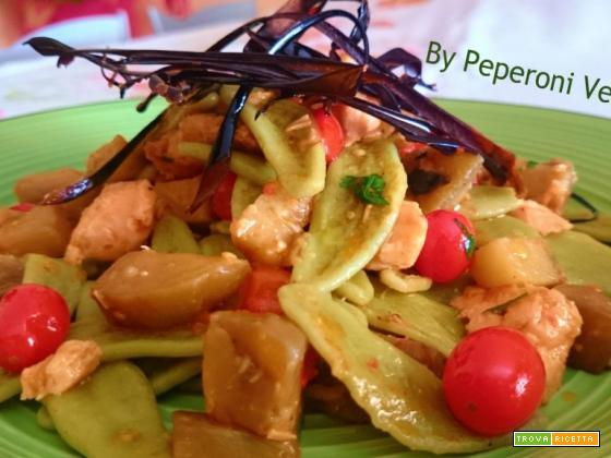 Foglie di ulivo agli spinaci con melanzane e salmone