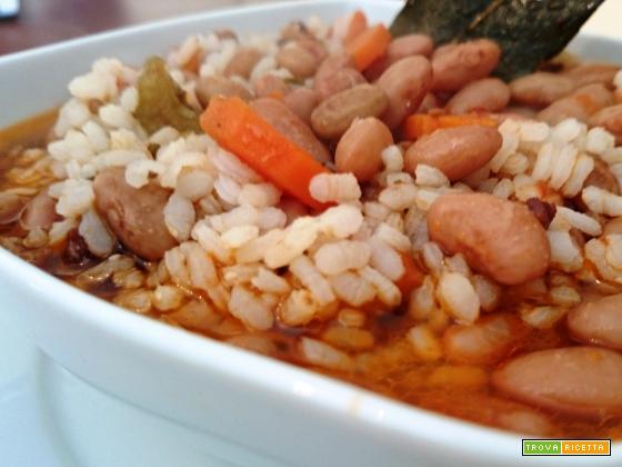 Minestra di riso con fagioli teneri