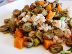 Orzo perlato con fave carote e asparagi