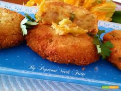 Schiacciatine di patate pancetta e fiori di zucca