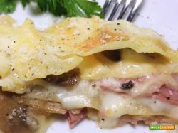Lasagne prosciutto e funghi