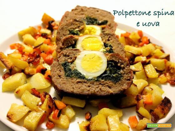 Polpettone di carne con spinaci e uova