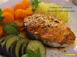 Tranci di salmone alla salsa di soia e zenzero