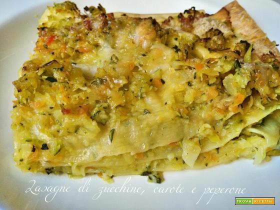 Lasagne di zucchine, carote e peperone