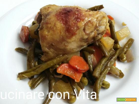Verdure marinate con pollo al forno