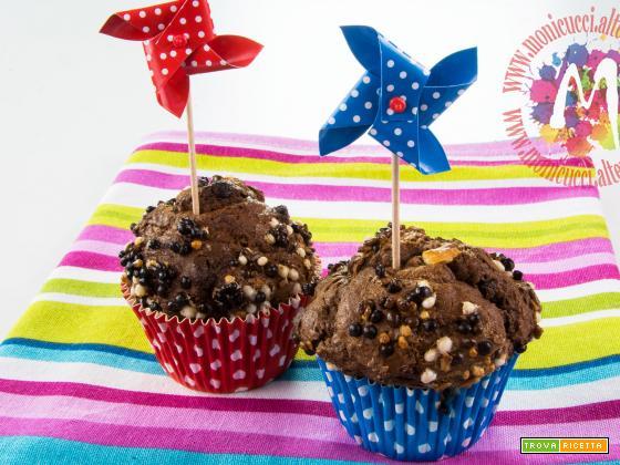 Muffin crumble al triplo cioccolato