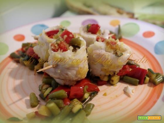 Involtini di orata con verdure in padella
