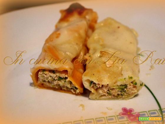 Cannelloni bicolori al salmone e asparagi in bianco