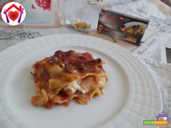 Lasagne ai funghi con speck, taleggio e besciamella vegetale