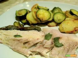 filetto di trota con contorno di patate e zucchine