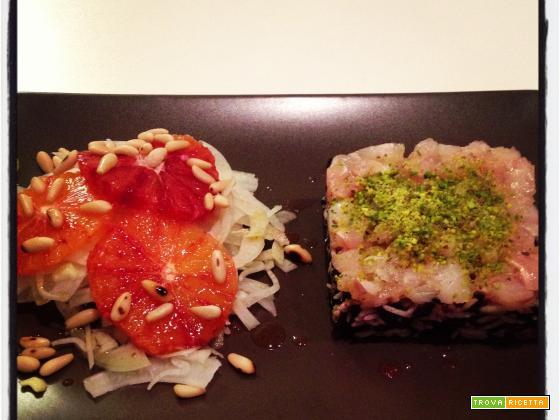 Tartare di dentice, due risi, insalata di finocchi, arance e pinoli con Franciacorta Satèn