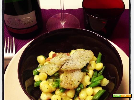Gnocchetti con lardo, fagiolini e filetti di orata con Franciacorta Satèn La Riccafana