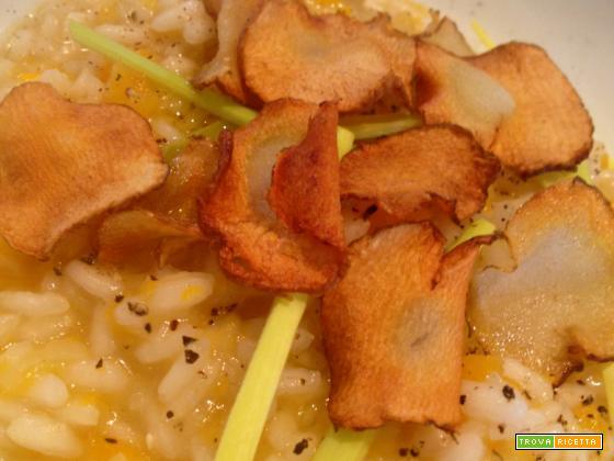 Risotto alla zucca e porri con chips di topinambur e il Mosnel Franciacorta Satèn 2008