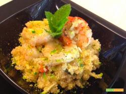 Quinoa con gamberi, menta e lime