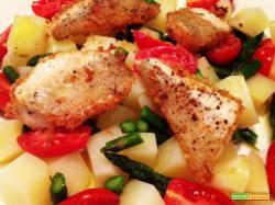 Gallinella gratinata su insalata tiepida di patate e asparagi