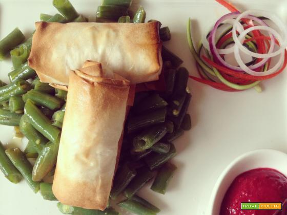 Fagottini con ricotta e verdure, fagiolini, salsa ai lamponi e #Franciacorta