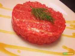 Risotto alle barbabietole con salsa al Franciacorta