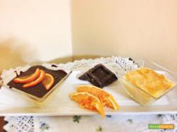 Budino alla vaniglia con cioccolato aromatizzato all'arancio