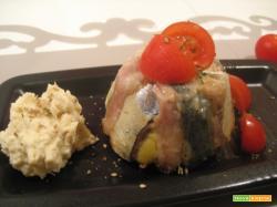 Sformatini alle acciughe e crema di rana pescatrice al ginger